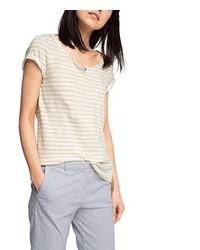 hellbeige T-Shirt mit einem Rundhalsausschnitt von Esprit