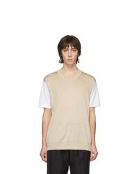 hellbeige T-Shirt mit einem Rundhalsausschnitt von Junya Watanabe
