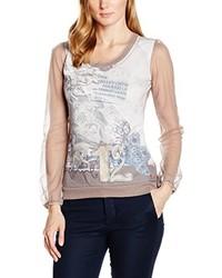 hellbeige T-Shirt mit einem Rundhalsausschnitt von ME&ME