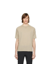 hellbeige T-Shirt mit einem Rundhalsausschnitt von Z Zegna