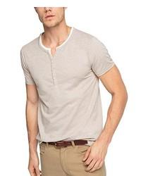 hellbeige T-shirt mit einer Knopfleiste von Esprit