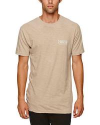 hellbeige T-Shirt mit Rundhalsausschnitt
