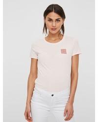 hellbeige T-Shirt mit einem Rundhalsausschnitt von Vero Moda