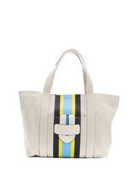 hellbeige vertikal gestreifte Shopper Tasche aus Segeltuch