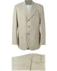 hellbeige vertikal gestreifter Anzug