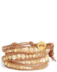 hellbeige verziert mit Perlen Armband