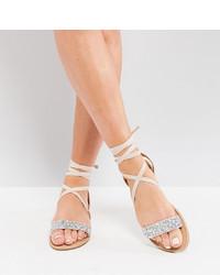 hellbeige verzierte flache Sandalen aus Leder von ASOS DESIGN