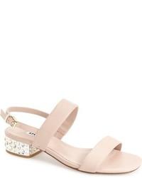 hellbeige verzierte Leder Sandaletten