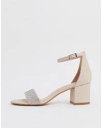 hellbeige verzierte Leder Sandaletten von Aldo