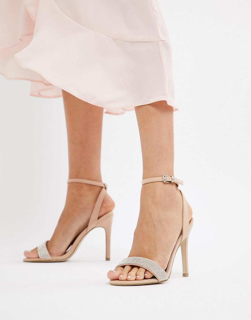 hellbeige verzierte Leder Sandaletten von New Look