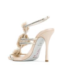hellbeige verzierte Leder Sandaletten von Rene Caovilla