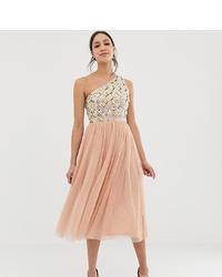 hellbeige verziertes ausgestelltes Kleid aus Tüll von Asos Tall