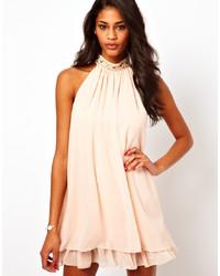 hellbeige verziertes schwingendes Kleid