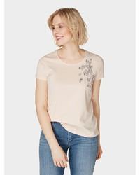 hellbeige verziertes T-Shirt mit einem Rundhalsausschnitt von Bonita
