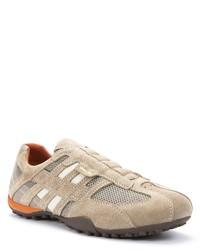 hellbeige Wildleder niedrige Sneakers von Geox