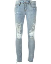 Hellblaue Baumwolle Enge Jeans mit Destroyed-Effekten von R 13