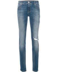 hellblaue Baumwolle enge Jeans von Versace