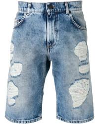 hellblaue Baumwollshorts mit Destroyed-Effekten von Versace