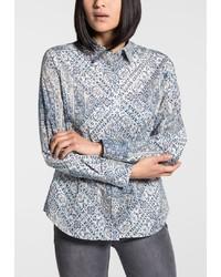 hellblaue bedruckte Bluse mit Knöpfen von Eterna