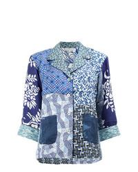 hellblaue bedruckte Bluse mit Knöpfen von Pierre Louis Mascia