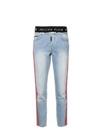 hellblaue bedruckte enge Jeans von Philipp Plein
