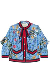 hellblaue bedruckte Jacke von Gucci