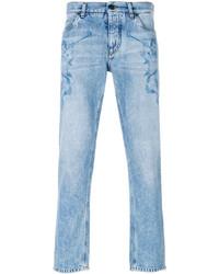 hellblaue bedruckte Jeans