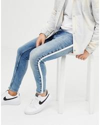 hellblaue bedruckte Jeans von Gym King