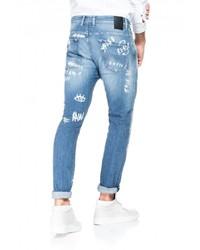 hellblaue bedruckte Jeans von SALSA