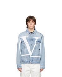 hellblaue bedruckte Jeansjacke von Valentino