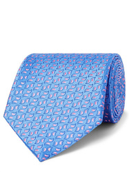 hellblaue bedruckte Krawatte von Charvet