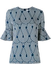 hellblaue bedruckte Seide Bluse von Victoria Beckham