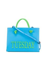 hellblaue bedruckte Shopper Tasche aus Leder von Alberta Ferretti