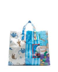 hellblaue bedruckte Shopper Tasche aus Segeltuch