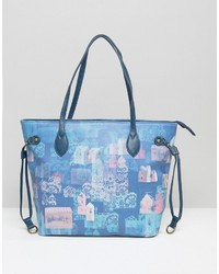 Hellblaue bedruckte Shopper Tasche von Lavand