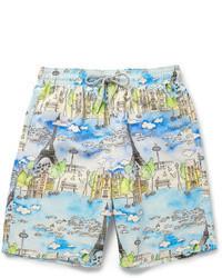 hellblaue bedruckte Shorts