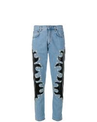 hellblaue beschlagene Jeans von Moschino