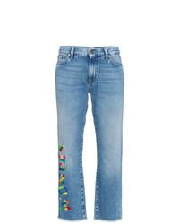 hellblaue bestickte Jeans von Mira Mikati