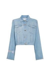 hellblaue bestickte Jeansjacke von Frame Denim