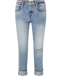 hellblaue Boyfriend Jeans mit Destroyed-Effekten von Current/Elliott