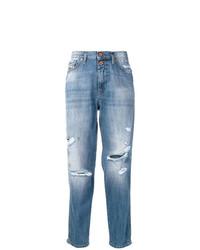 hellblaue Boyfriend Jeans mit Destroyed-Effekten von Diesel