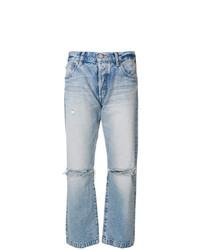 hellblaue Boyfriend Jeans mit Destroyed-Effekten von Moussy Vintage