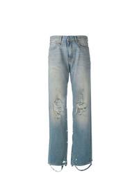 hellblaue Boyfriend Jeans mit Destroyed-Effekten von R13