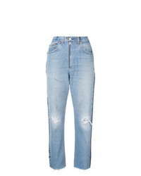 hellblaue Boyfriend Jeans mit Destroyed-Effekten von RE/DONE