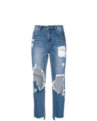 hellblaue Boyfriend Jeans mit Destroyed-Effekten von Sjyp
