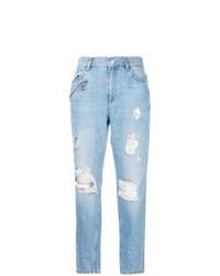 hellblaue Boyfriend Jeans mit Destroyed-Effekten von Versace Jeans