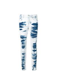 hellblaue Mit Batikmuster enge Jeans von Stella McCartney