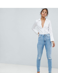 hellblaue enge Jeans mit Destroyed-Effekten von Asos Tall