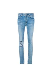 hellblaue enge Jeans mit Destroyed-Effekten von Balenciaga