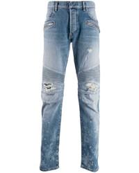hellblaue enge Jeans mit Destroyed-Effekten von Balmain